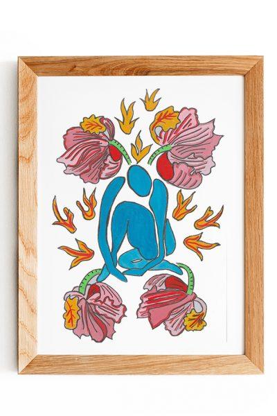 Flower blue in frame